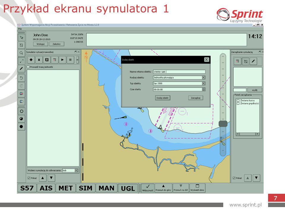www.sprint.pl 7 Przykład ekranu symulatora 1