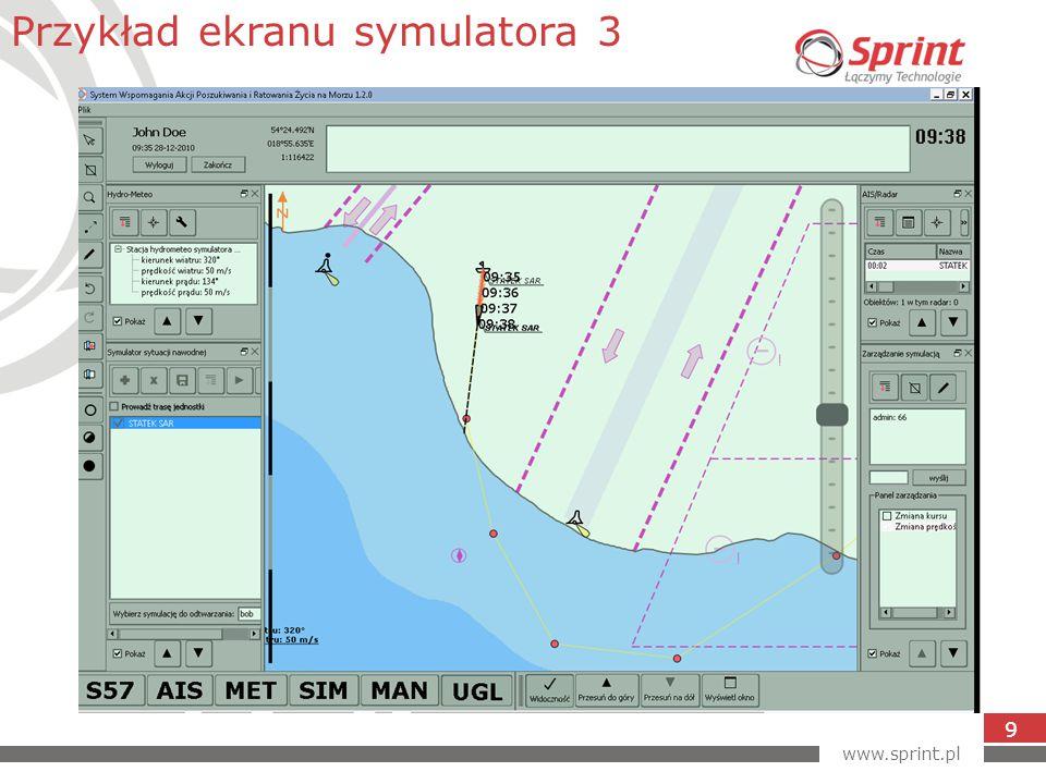 www.sprint.pl 9 Przykład ekranu symulatora 3