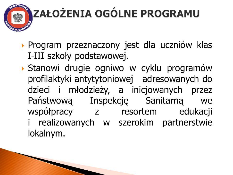  Program przeznaczony jest dla uczniów klas I-III szkoły podstawowej.  Stanowi drugie ogniwo w cyklu programów profilaktyki antytytoniowej adresowan