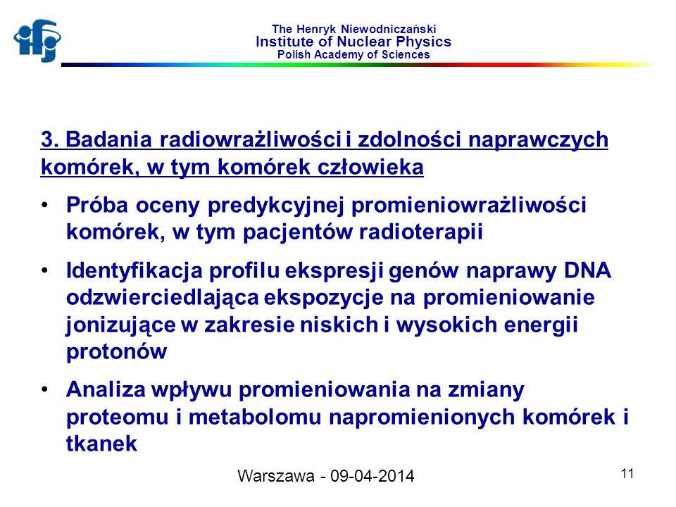 11 The Henryk Niewodniczański Institute of Nuclear Physics Polish Academy of Sciences 3. Badania radiowrażliwości i zdolności naprawczych komórek, w t