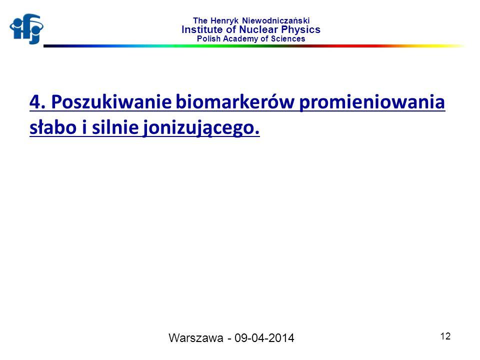 12 The Henryk Niewodniczański Institute of Nuclear Physics Polish Academy of Sciences 4. Poszukiwanie biomarkerów promieniowania słabo i silnie jonizu