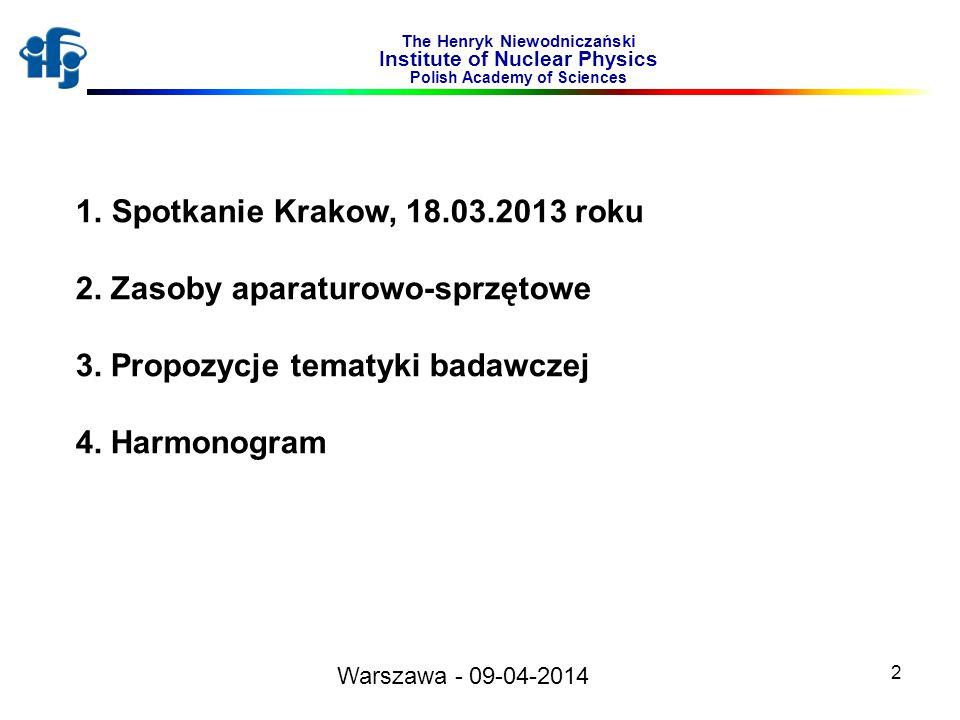2 The Henryk Niewodniczański Institute of Nuclear Physics Polish Academy of Sciences 1.Spotkanie Krakow, 18.03.2013 roku 2. Zasoby aparaturowo-sprzęto