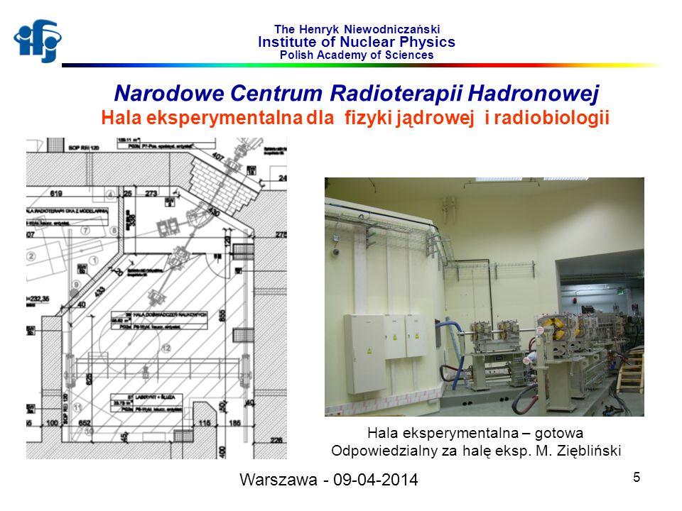 5 The Henryk Niewodniczański Institute of Nuclear Physics Polish Academy of Sciences Hala eksperymentalna – gotowa Odpowiedzialny za halę eksp.