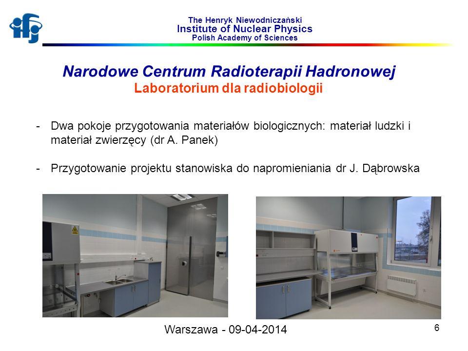6 The Henryk Niewodniczański Institute of Nuclear Physics Polish Academy of Sciences Narodowe Centrum Radioterapii Hadronowej Laboratorium dla radiobi