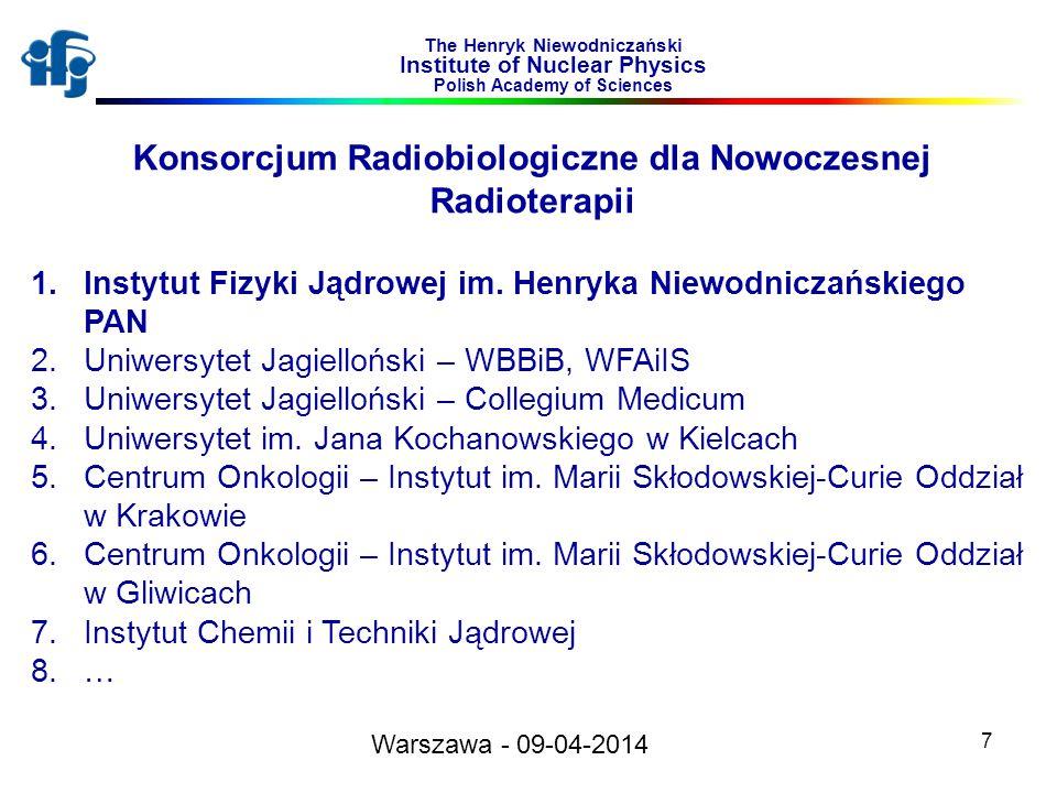 7 The Henryk Niewodniczański Institute of Nuclear Physics Polish Academy of Sciences Konsorcjum Radiobiologiczne dla Nowoczesnej Radioterapii 1.Instyt
