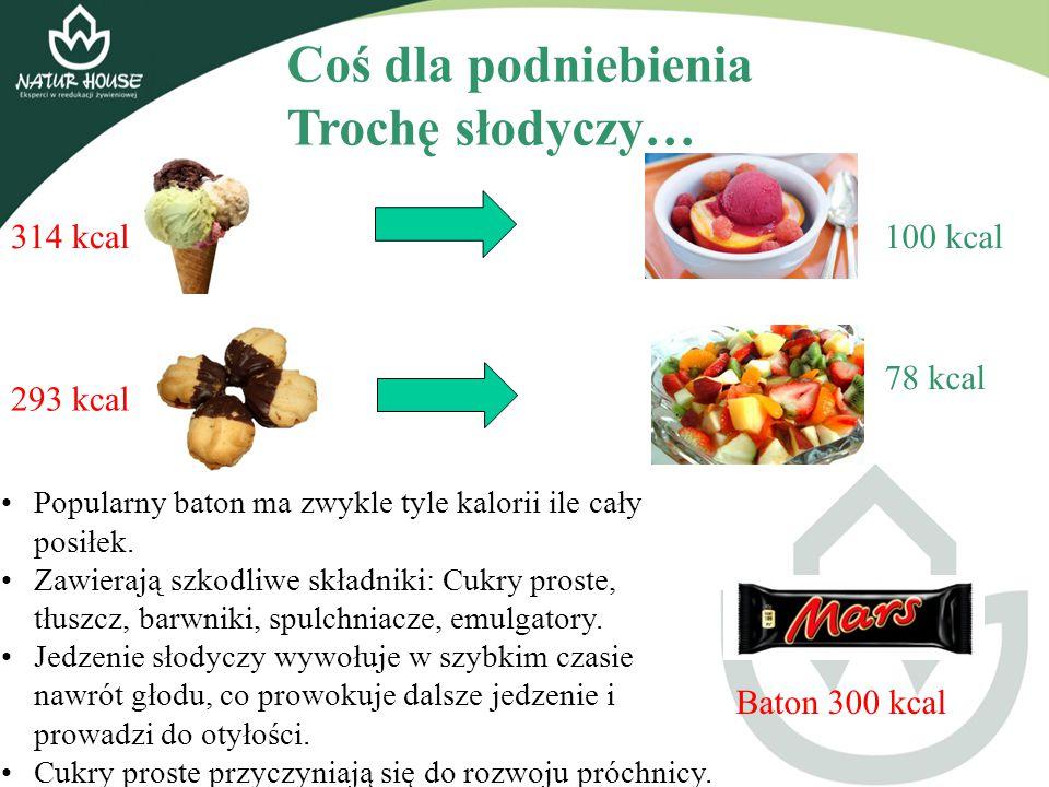 Coś dla podniebienia Trochę słodyczy… 314 kcal100 kcal 293 kcal 78 kcal Popularny baton ma zwykle tyle kalorii ile cały posiłek. Zawierają szkodliwe s