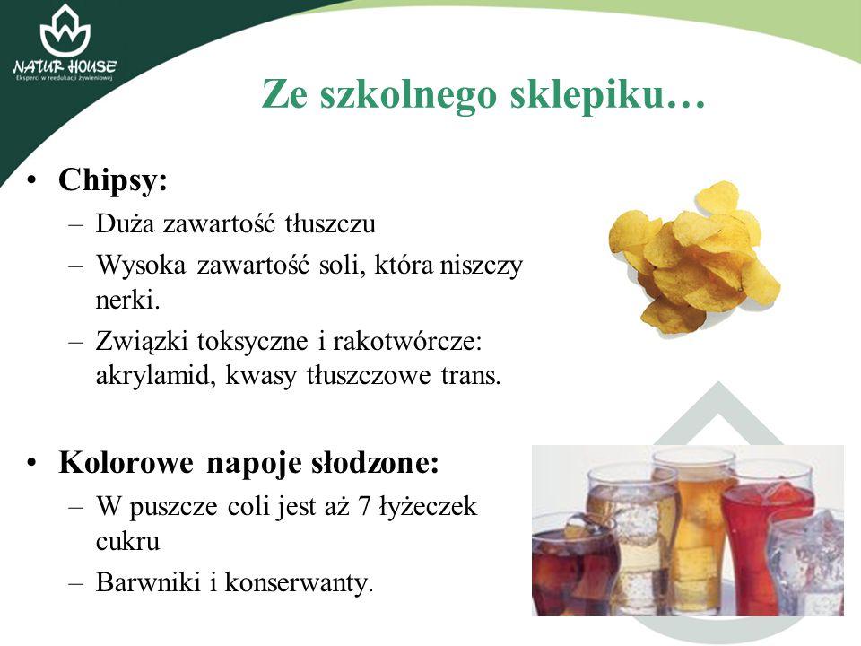 Ze szkolnego sklepiku… Chipsy: –Duża zawartość tłuszczu –Wysoka zawartość soli, która niszczy nerki. –Związki toksyczne i rakotwórcze: akrylamid, kwas