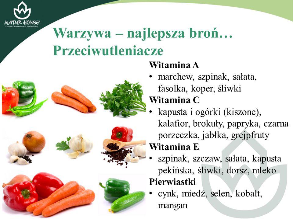 Warzywa – najlepsza broń… Przeciwutleniacze Witamina A marchew, szpinak, sałata, fasolka, koper, śliwki Witamina C kapusta i ogórki (kiszone), kalafio