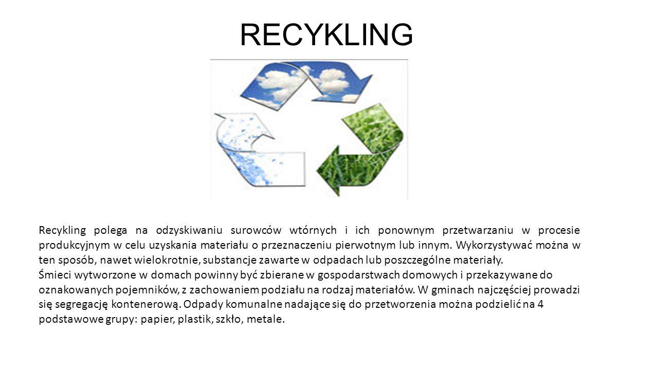 RECYKLING Recykling polega na odzyskiwaniu surowców wtórnych i ich ponownym przetwarzaniu w procesie produkcyjnym w celu uzyskania materiału o przezna
