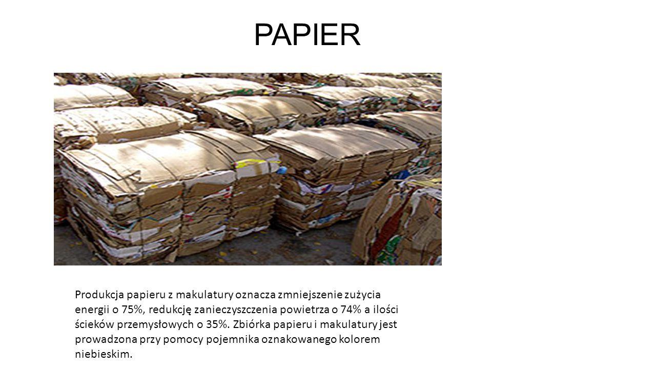 PAPIER Produkcja papieru z makulatury oznacza zmniejszenie zużycia energii o 75%, redukcję zanieczyszczenia powietrza o 74% a ilości ścieków przemysło