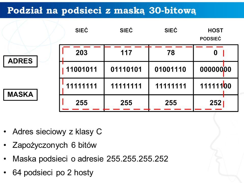 Podział na podsieci z maską 30-bitową Adres sieciowy z klasy C Zapożyczonych 6 bitów Maska podsieci o adresie 255.255.255.252 64 podsieci po 2 hosty