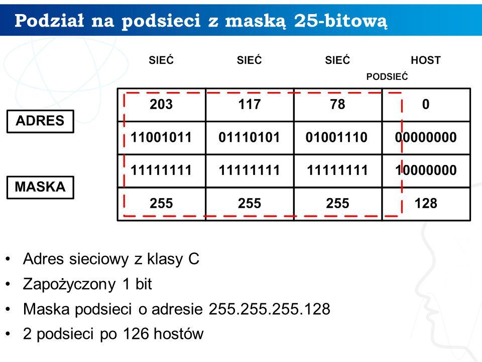 Podział na podsieci z maską 25-bitową Adres sieciowy z klasy C Zapożyczony 1 bit Maska podsieci o adresie 255.255.255.128 2 podsieci po 126 hostów