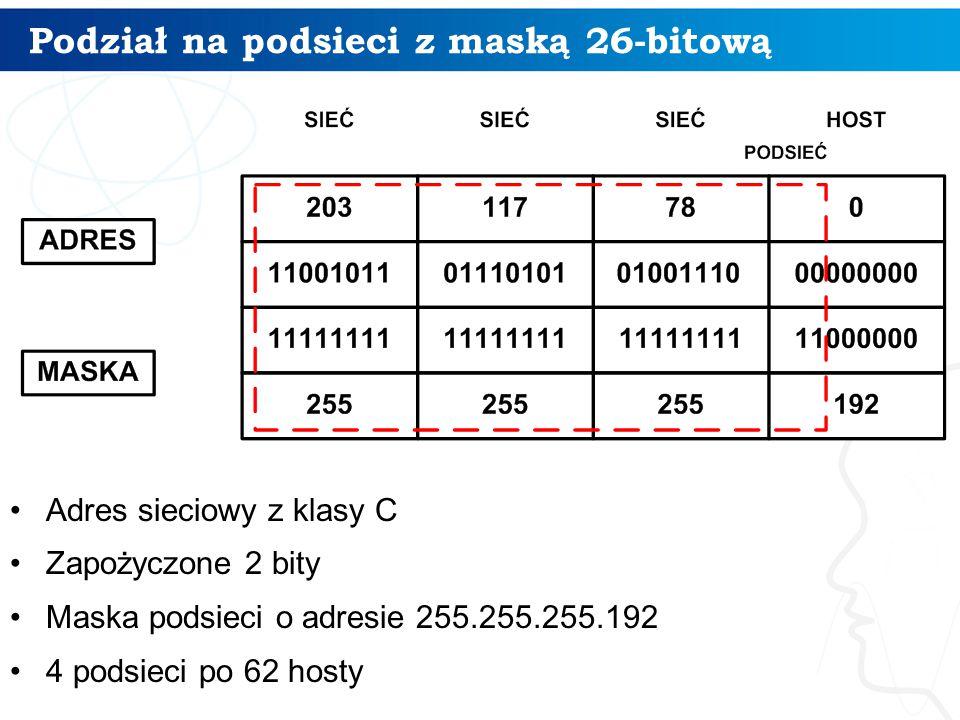 Podział na podsieci z maską 26-bitową Adres sieciowy z klasy C Zapożyczone 2 bity Maska podsieci o adresie 255.255.255.192 4 podsieci po 62 hosty