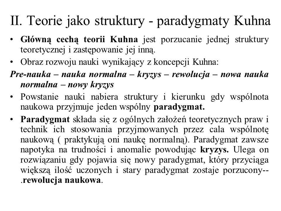 II. Teorie jako struktury - paradygmaty Kuhna Główną cechą teorii Kuhna jest porzucanie jednej struktury teoretycznej i zastępowanie jej inną. Obraz r