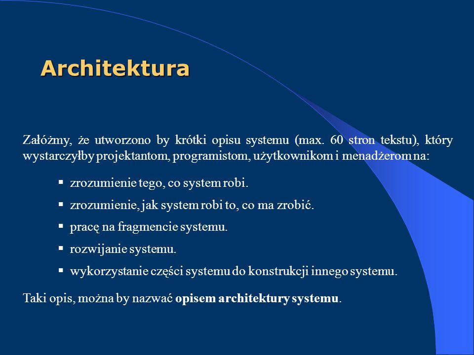 Architektura Załóżmy, że utworzono by krótki opisu systemu (max. 60 stron tekstu), który wystarczyłby projektantom, programistom, użytkownikom i menad