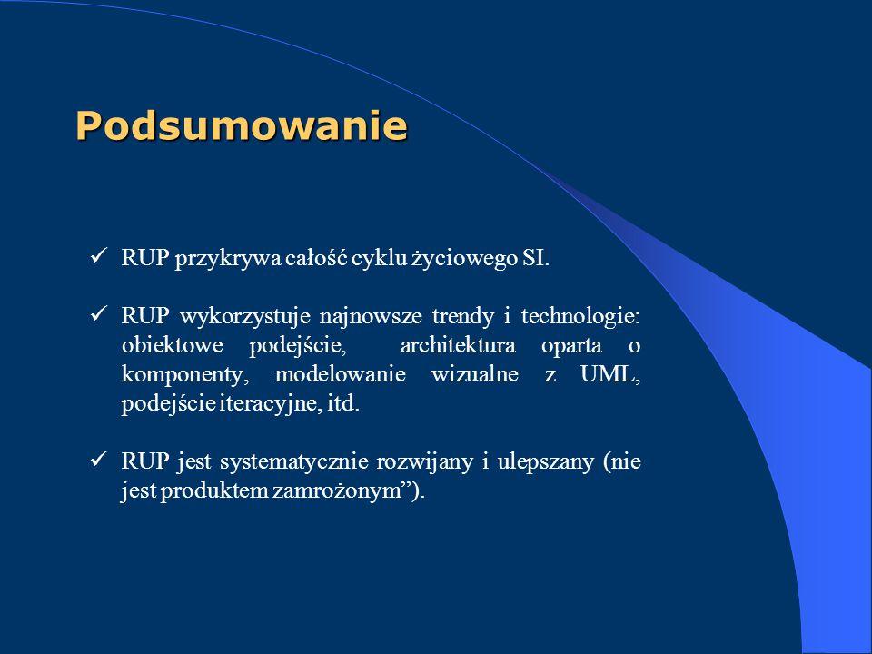 Podsumowanie RUP przykrywa całość cyklu życiowego SI. RUP wykorzystuje najnowsze trendy i technologie: obiektowe podejście, architektura oparta o komp