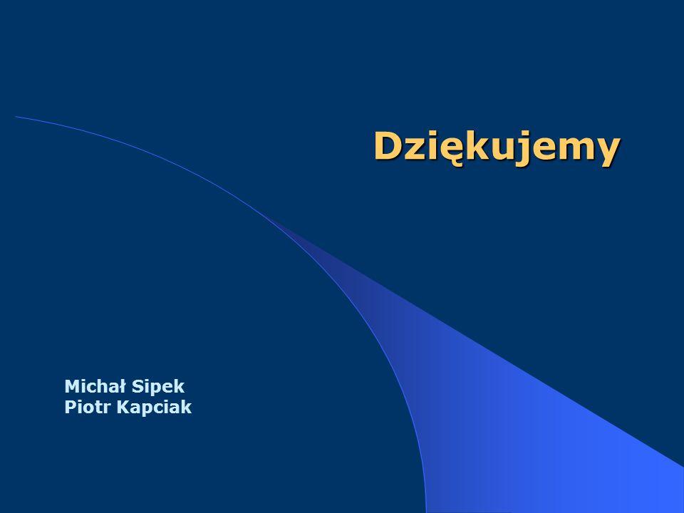Dziękujemy Michał Sipek Piotr Kapciak