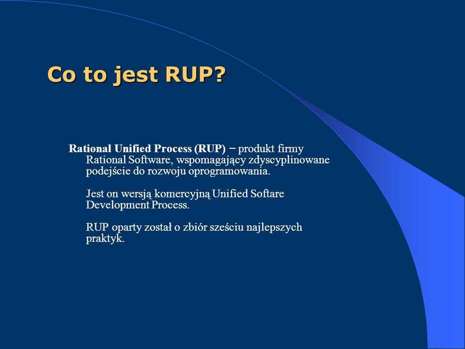 Co to jest RUP? Rational Unified Process (RUP) − produkt firmy Rational Software, wspomagający zdyscyplinowane podejście do rozwoju oprogramowania. Je