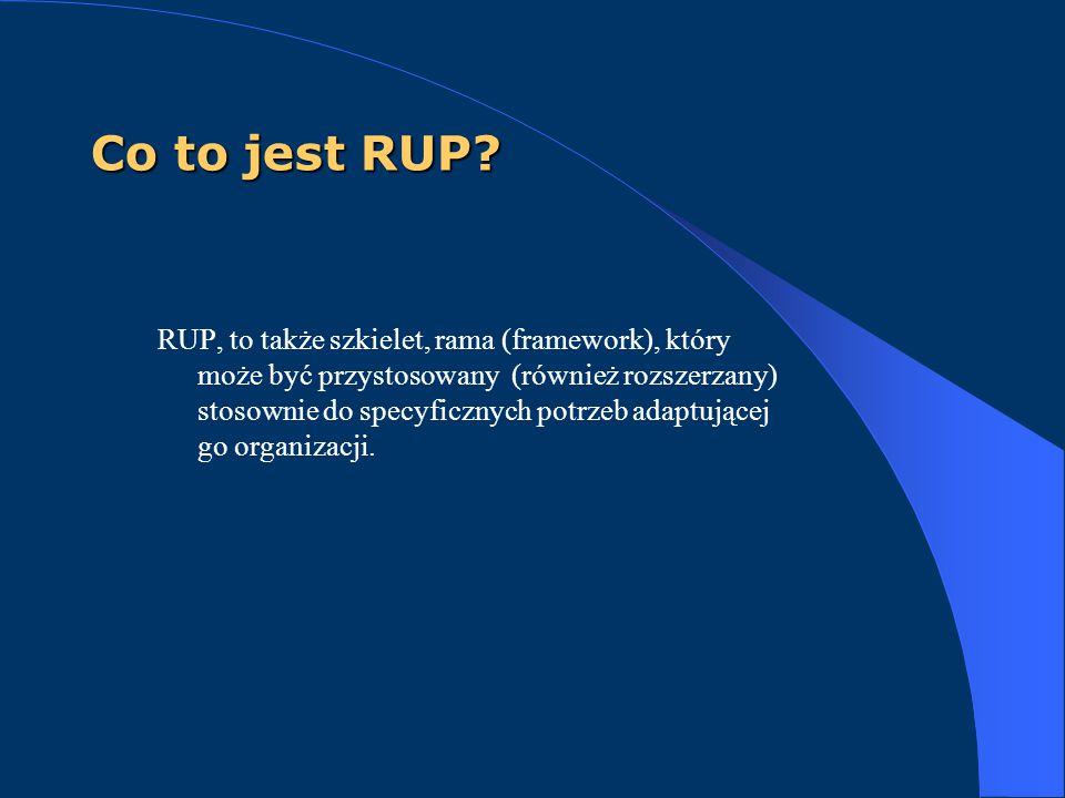 Co to jest RUP? RUP, to także szkielet, rama (framework), który może być przystosowany (również rozszerzany) stosownie do specyficznych potrzeb adaptu