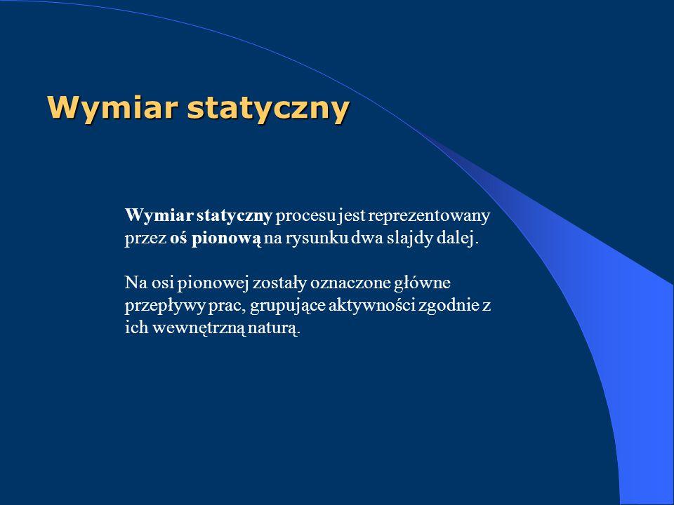 Wymiar statyczny Wymiar statyczny procesu jest reprezentowany przez oś pionową na rysunku dwa slajdy dalej. Na osi pionowej zostały oznaczone główne p