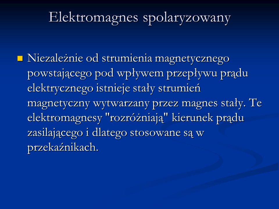 Elektromagnes spolaryzowany Niezależnie od strumienia magnetycznego powstającego pod wpływem przepływu prądu elektrycznego istnieje stały strumień mag