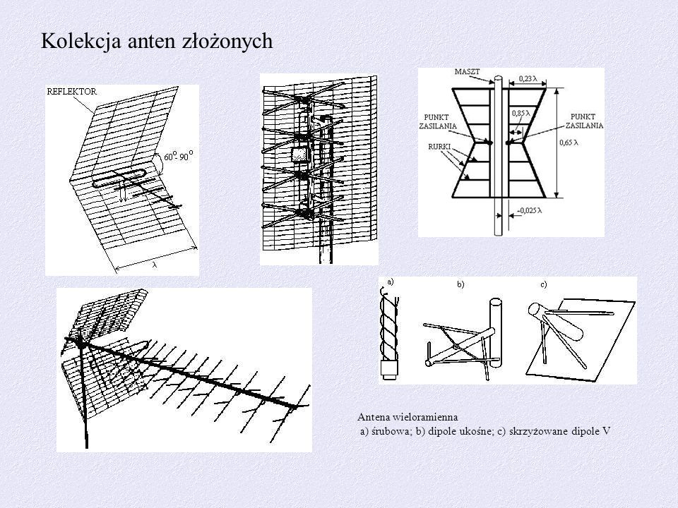 Kolekcja anten złożonych Antena wieloramienna a) śrubowa; b) dipole ukośne; c) skrzyżowane dipole V