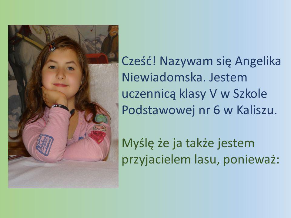 Cześć! Nazywam się Angelika Niewiadomska. Jestem uczennicą klasy V w Szkole Podstawowej nr 6 w Kaliszu. Myślę że ja także jestem przyjacielem lasu, po