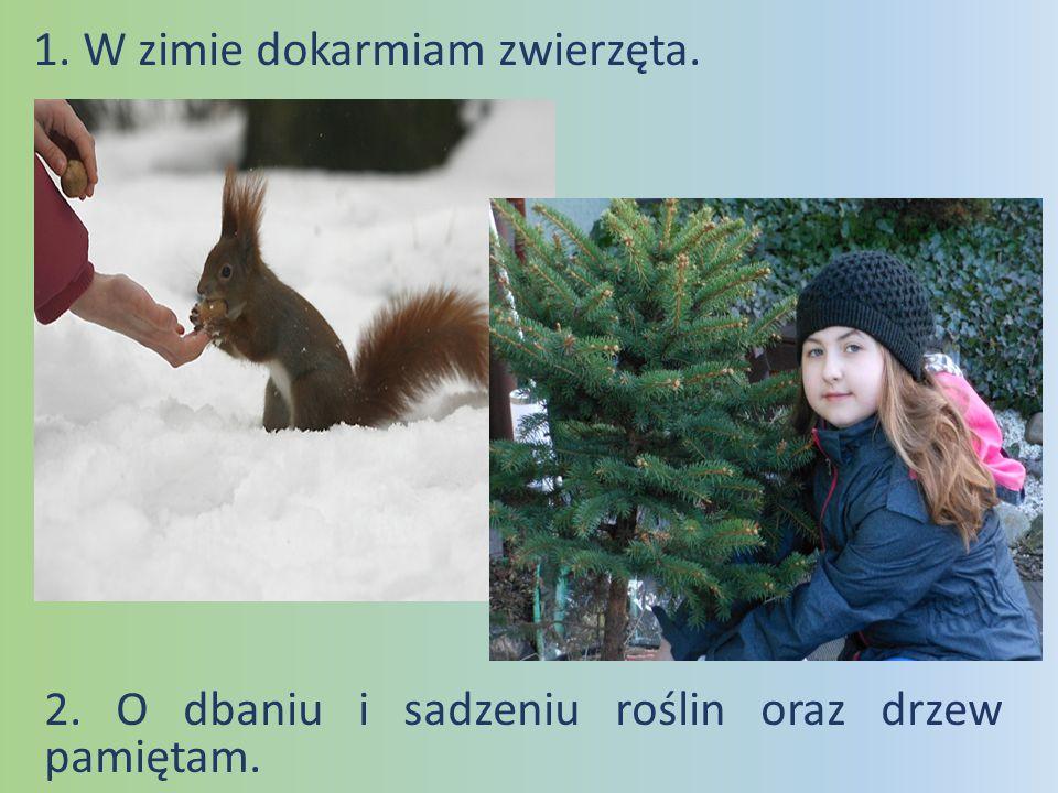 1. W zimie dokarmiam zwierzęta. 2. O dbaniu i sadzeniu roślin oraz drzew pamiętam.