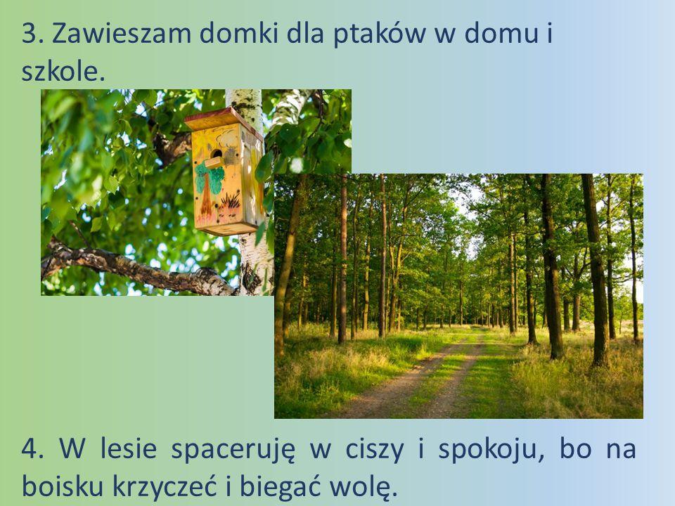 3. Zawieszam domki dla ptaków w domu i szkole. 4. W lesie spaceruję w ciszy i spokoju, bo na boisku krzyczeć i biegać wolę.