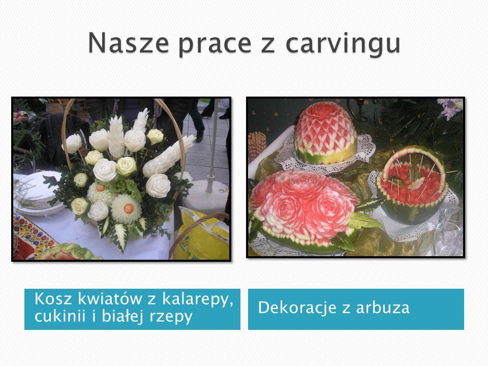 Kosz kwiatów z kalarepy, cukinii i białej rzepy Dekoracje z arbuza