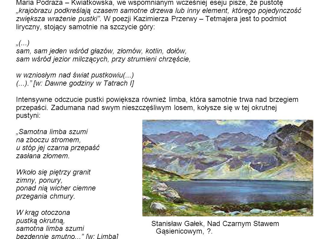 """Maria Podraza – Kwiatkowska, we wspomnianym wcześniej eseju pisze, że pustotę """"krajobrazu podkreślają czasem samotne drzewa lub inny element, którego"""