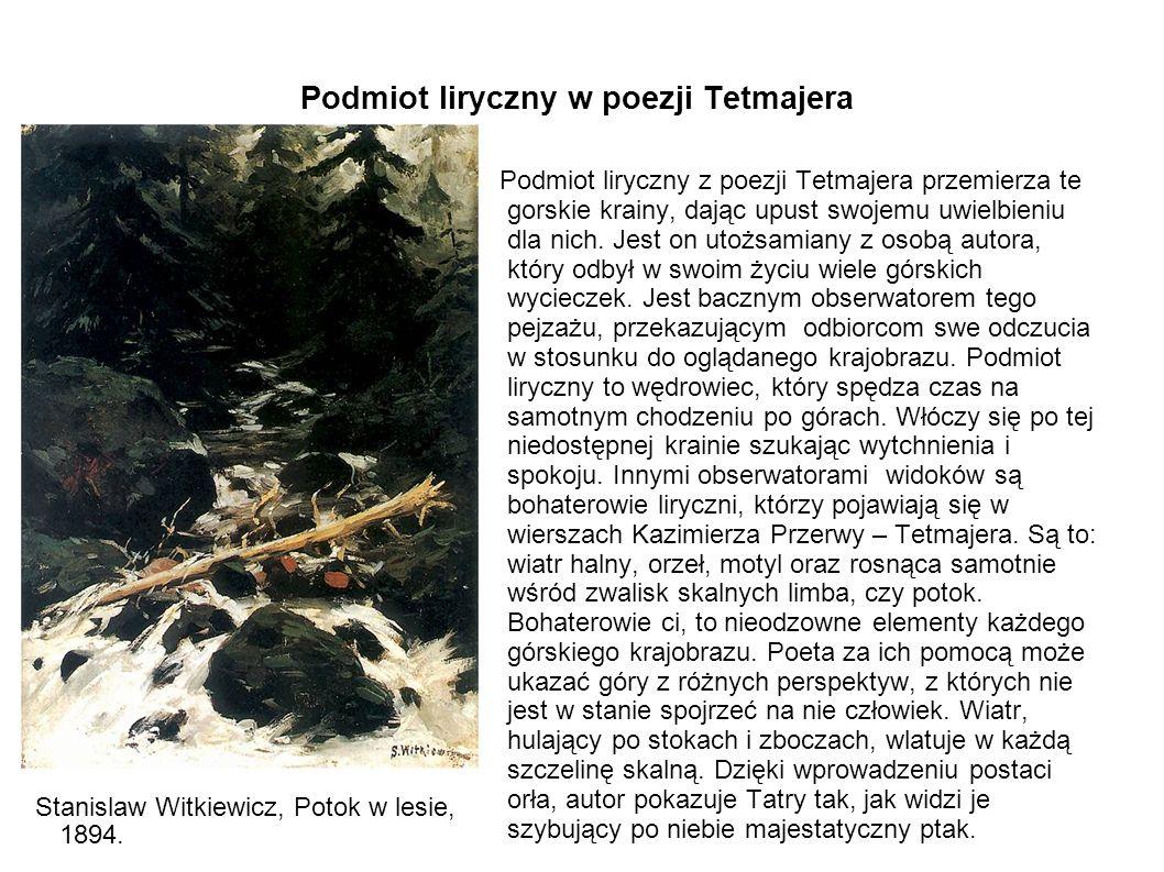Podmiot liryczny w poezji Tetmajera Podmiot liryczny z poezji Tetmajera przemierza te gorskie krainy, dając upust swojemu uwielbieniu dla nich. Jest o