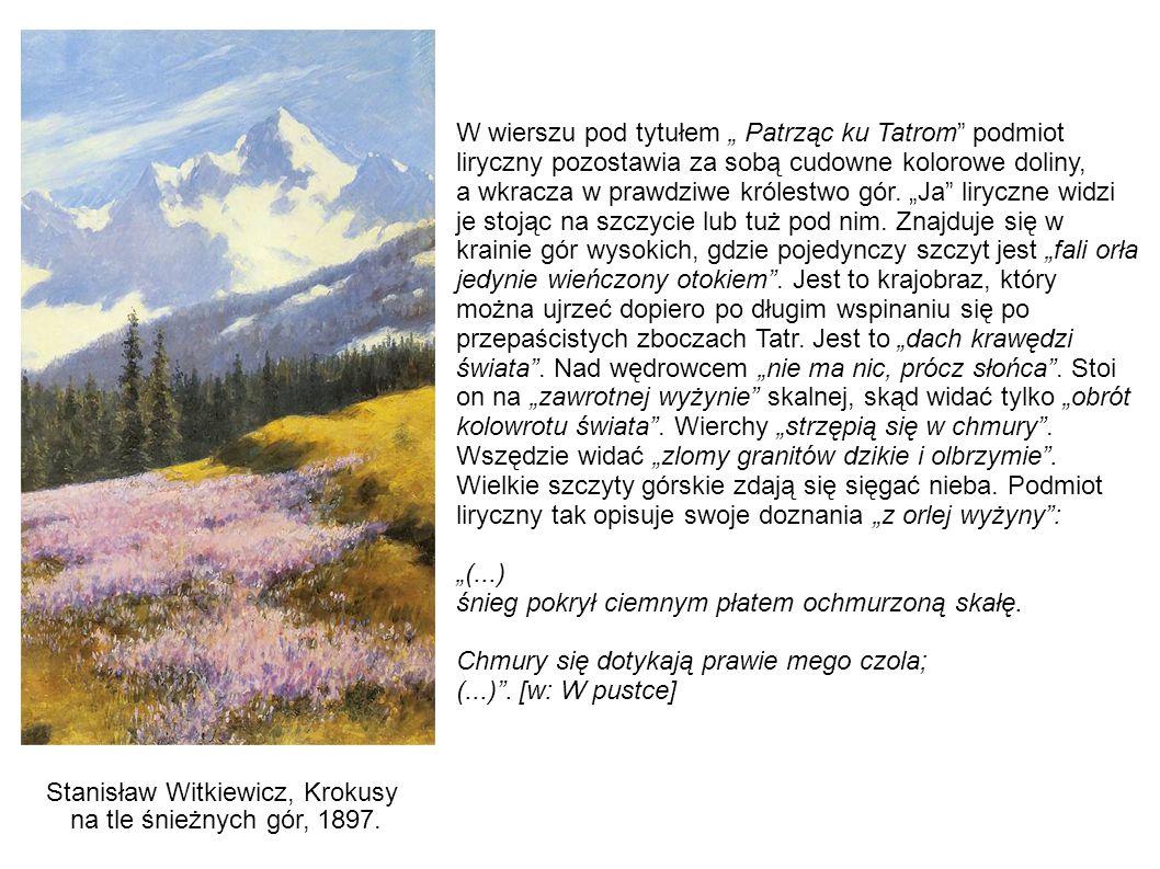 """W wierszu pod tytułem """" Patrząc ku Tatrom"""" podmiot liryczny pozostawia za sobą cudowne kolorowe doliny, a wkracza w prawdziwe królestwo gór. """"Ja"""" liry"""
