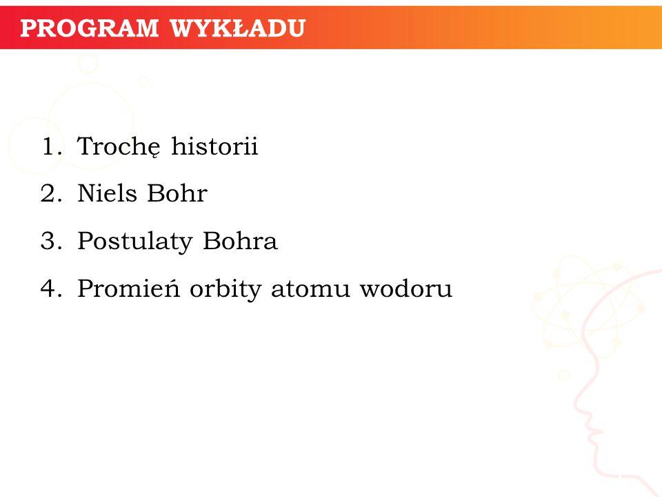 PROGRAM WYKŁADU 1.Trochę historii 2.Niels Bohr 3.Postulaty Bohra 4.Promień orbity atomu wodoru informatyka + 3