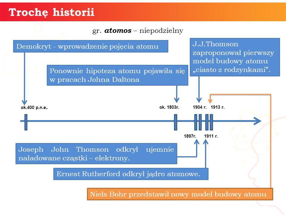 4 Trochę historii gr. atomos – niepodzielny ok.400 p.n.e. Demokryt - wprowadzenie pojęcia atomu ok. 1803r. Ponownie hipoteza atomu pojawiła się w prac
