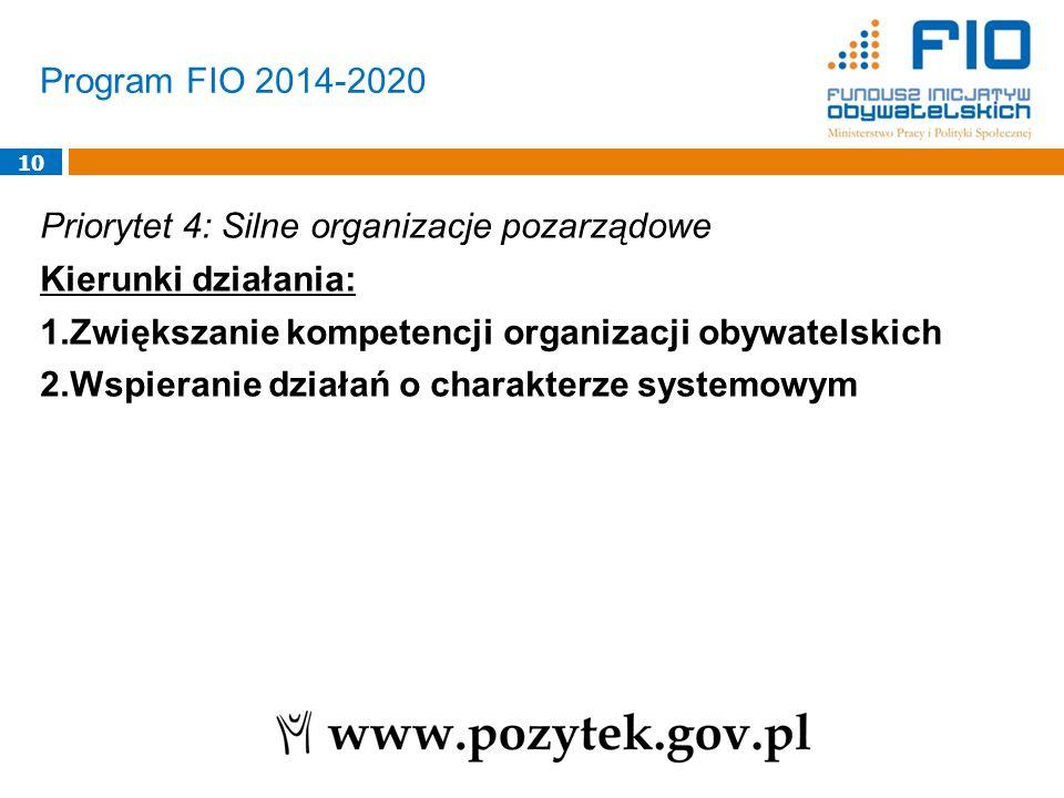 Program FIO 2014-2020 10 Priorytet 4: Silne organizacje pozarządowe Kierunki działania: 1.Zwiększanie kompetencji organizacji obywatelskich 2.Wspieranie działań o charakterze systemowym