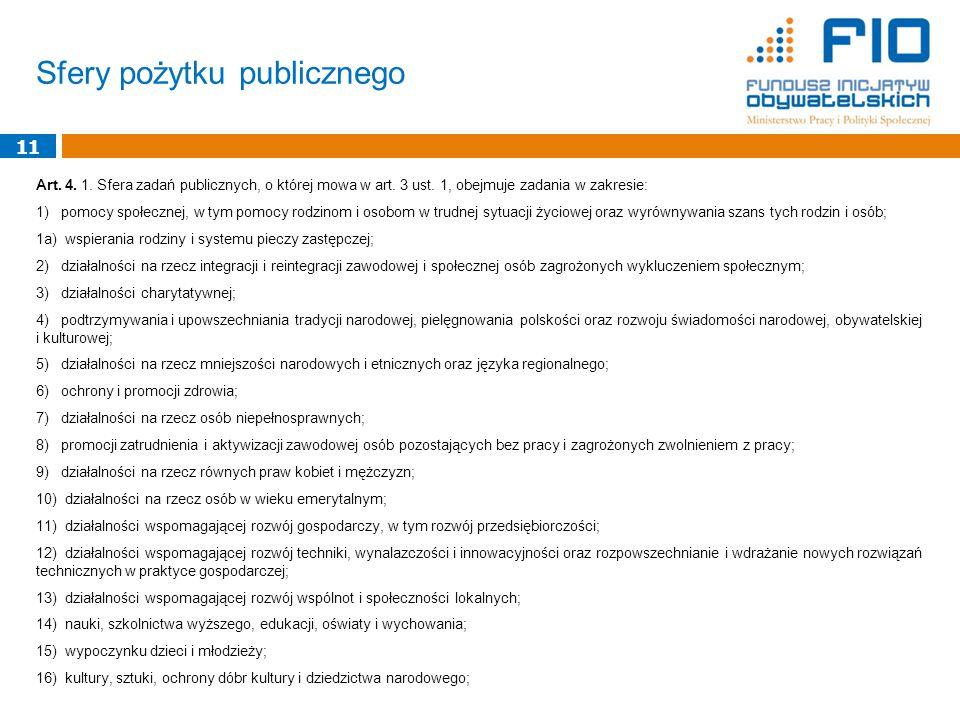 Sfery pożytku publicznego Art. 4. 1. Sfera zadań publicznych, o której mowa w art.