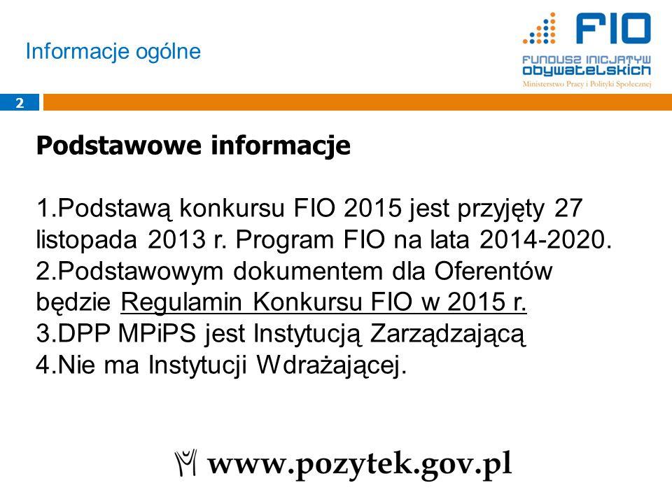 Informacje ogólne 2 Podstawowe informacje 1.Podstawą konkursu FIO 2015 jest przyjęty 27 listopada 2013 r.