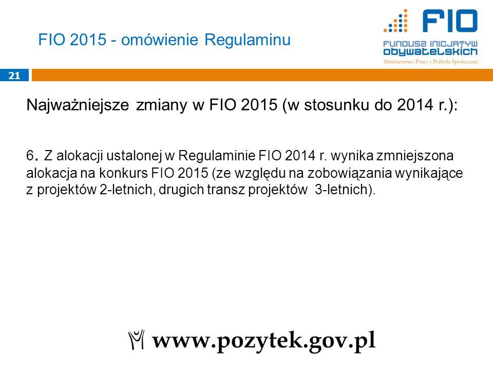21 Najważniejsze zmiany w FIO 2015 (w stosunku do 2014 r.): 6.