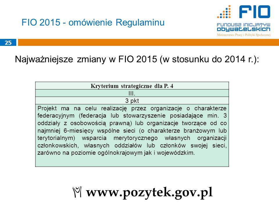25 Najważniejsze zmiany w FIO 2015 (w stosunku do 2014 r.): Kryterium strategiczne dla P.