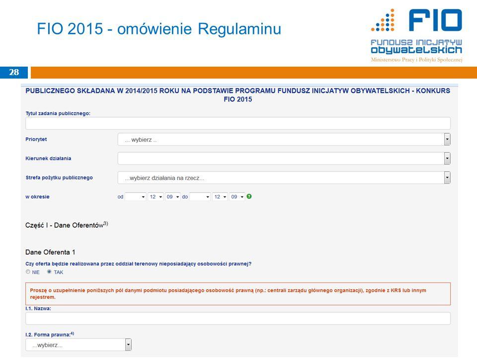 FIO 2015 - omówienie Regulaminu 28