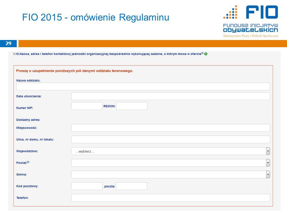 FIO 2015 - omówienie Regulaminu 29