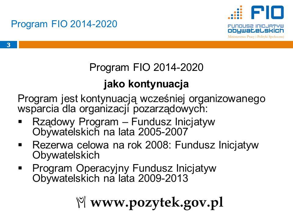3 Program FIO 2014-2020 jako kontynuacja Program jest kontynuacją wcześniej organizowanego wsparcia dla organizacji pozarządowych:  Rządowy Program – Fundusz Inicjatyw Obywatelskich na lata 2005-2007  Rezerwa celowa na rok 2008: Fundusz Inicjatyw Obywatelskich  Program Operacyjny Fundusz Inicjatyw Obywatelskich na lata 2009-2013 Program FIO 2014-2020