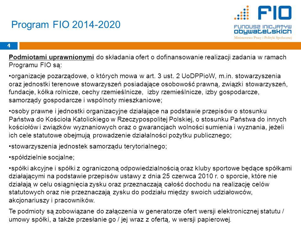 Podmiotami uprawnionymi do składania ofert o dofinansowanie realizacji zadania w ramach Programu FIO są: organizacje pozarządowe, o których mowa w art.