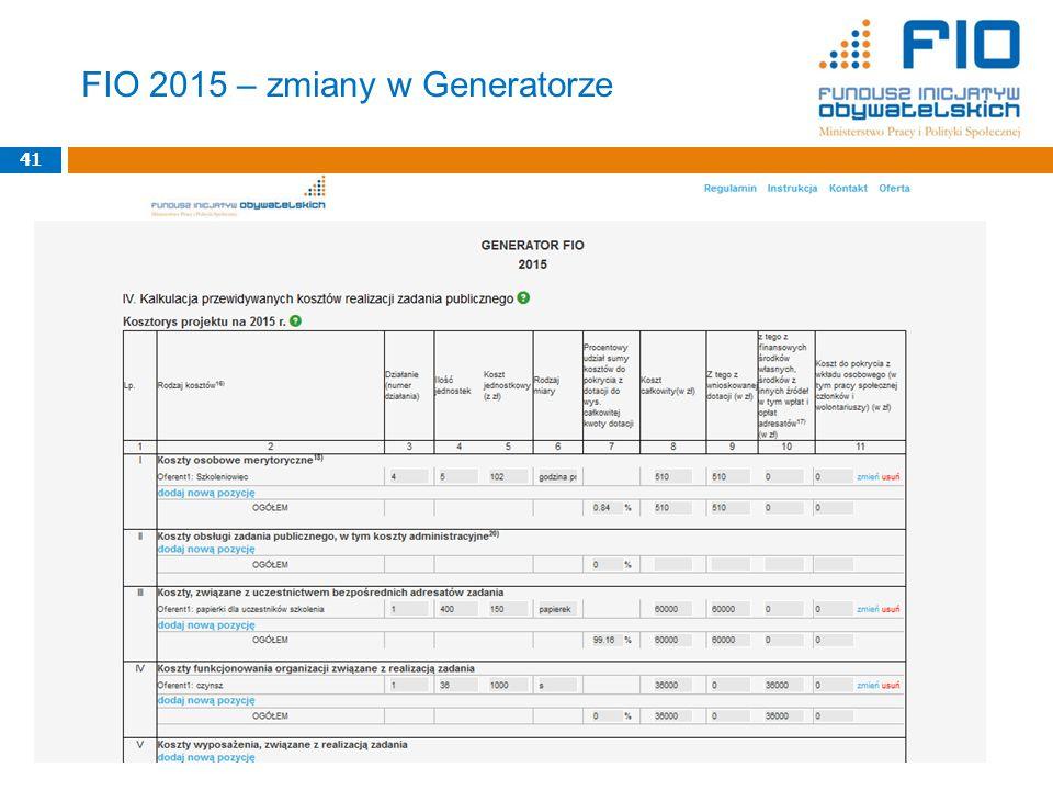41 FIO 2015 – zmiany w Generatorze