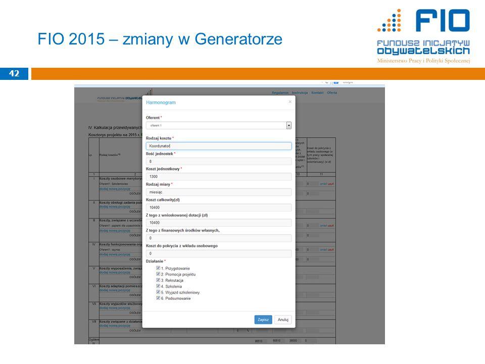 42 FIO 2015 – zmiany w Generatorze