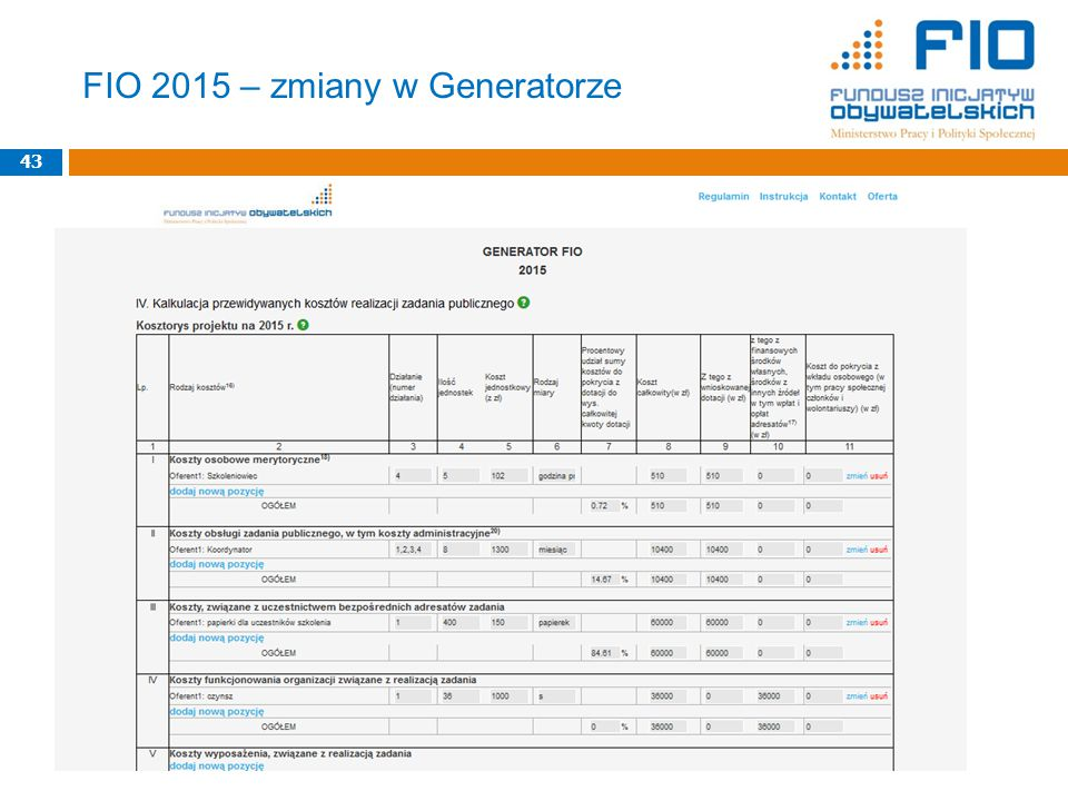43 FIO 2015 – zmiany w Generatorze