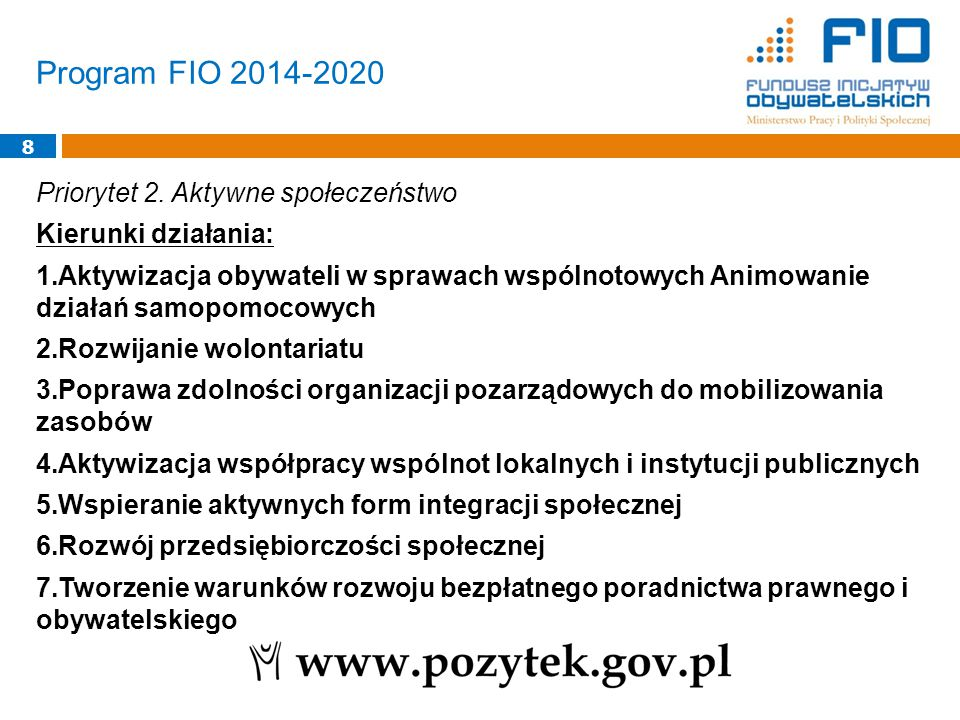Program FIO 2014-2020 8 Priorytet 2.