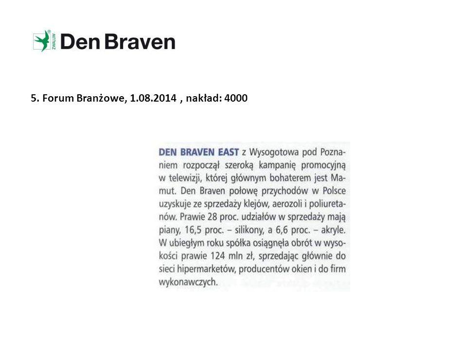 5. Forum Branżowe, 1.08.2014, nakład: 4000