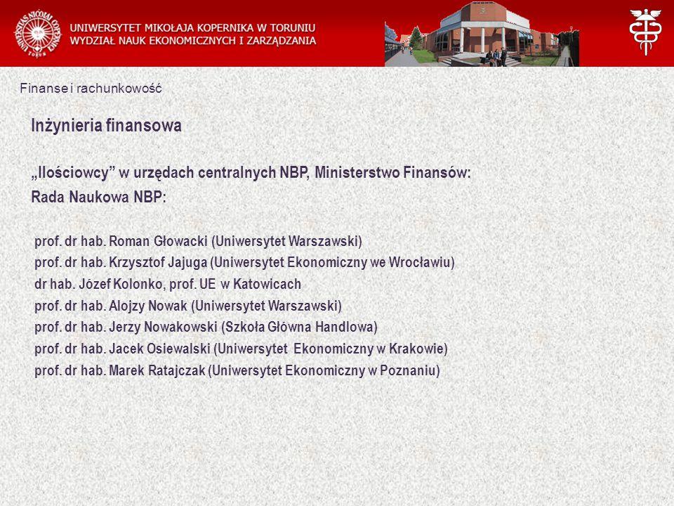 """Finanse i rachunkowość Inżynieria finansowa """"Ilościowcy w urzędach centralnych NBP, Ministerstwo Finansów: Rada Naukowa NBP: prof."""